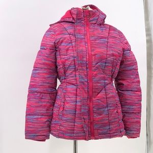 xersion girls multi colored stripe winter coat XL